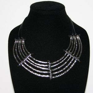 Black leather and silver statement bib necklace